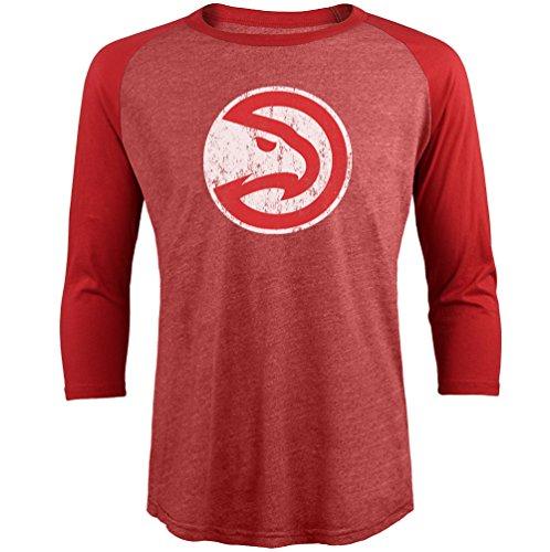 (Majestic Athletic NBA Atlanta Hawks Men's Premium Triblend 3/4 Sleeve Raglan, Red, XX-Large)