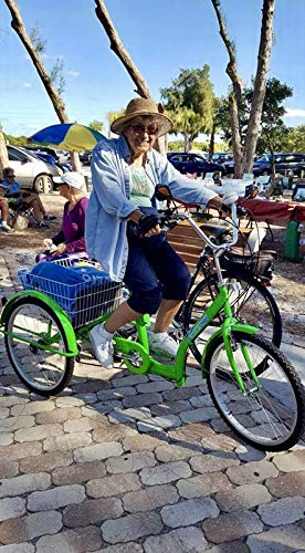 (24 INCH Low Step Easy Step Over 6 Speed Shimano Gears Adult Tricycle Green Large Basket)