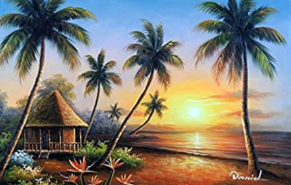 100 Hand Painted Hawaii Beach House Sunset Pacific Ocean Palm Tree Canvas Oil Painting For