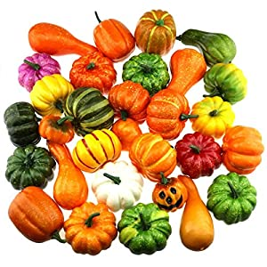 Gresorth 30 PCS Fake Pumpkins Collection Artificial Pumpkin Home Party Halloween Decoration 11