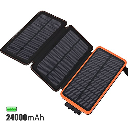 Solar Charger 24000mAh, FEELLE Solar Power Bank with 3 Solar Panels Waterproof Portable Battery Charger for iPhone, iPad, Smart Phones