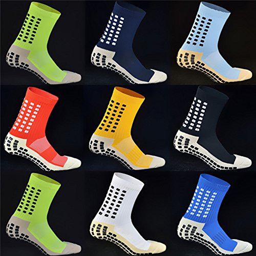 Top Quality KEESOX Non Slipping Soccer Socks Cotton Anti Slip Football Socks Skidproof Sport Socks with Anti Skid Rubber Outside Adults Mid-Calf Trusox Style (black) (Soccer Socks Trusox)