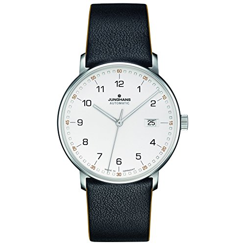 (Junghans Watch Form A Automatic Matt Silver Dial Black Leather Strap 027/4731.00)