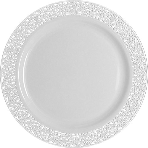 Table To Go 'I Can't Believe It's Plastic' 50-Piece Plastic Salad Plate Set | Lace Collection | Heavy Duty Premium Plastic Plates for Wedding, Parties, Camping & More (White)