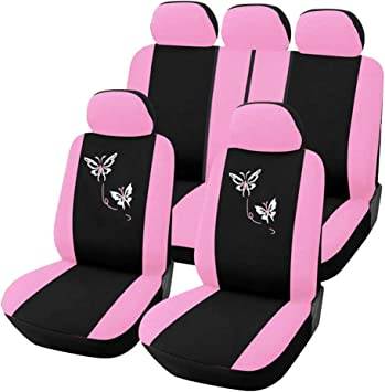 9PCS AUTOYOUTH Pink Car Seat Covers for Women Full Set Universal Fit Car Seat Protectors Rear Split Butterfly Flowers Embroidery Compatible to Most Cars Fashion Car Interior Accessories
