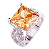 Psiroy 925 Sterling Silver Princess Cut Morganite Gemstone Filled Ring Band for Women offers
