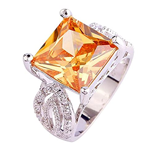 Psiroy 925 Sterling Silver Women's Gorgeous 12mm*12mm Princess Cut Morganite Filled Ring (The Tree Of Life Bluray)