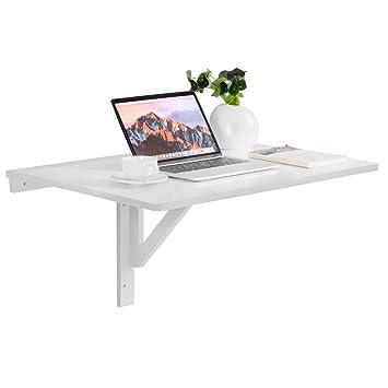 Wandklapptisch weiß  COSTWAY Wandklapptisch weiß, Wandtisch klappbar, 80x60cm, aus Holz