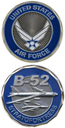 United States Military US Air Force B-52 Bomber Plain Stratofortress - Good Luck Double Sided Collectible Challenge Pewter Coin by Eagle Crest