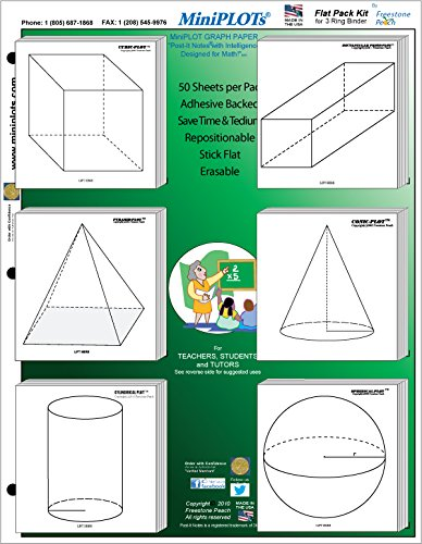 MiniPLOT Graph Paper Kit: Six 3D solid shapes for GEOMETRY printed on 3x3 Sticky Note pads. 50 adhesive backed sheets per pad. Pads mounted on 8.5x11 cardstock. Use for homework & more