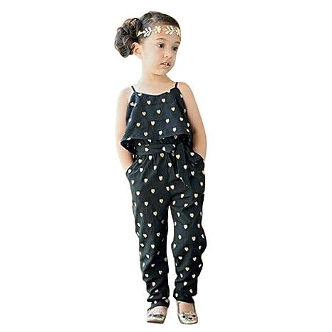 exiu bebé niñas verano corazón patrón mono Pelele Pantalones con cinturón trajes negro negro Talla:
