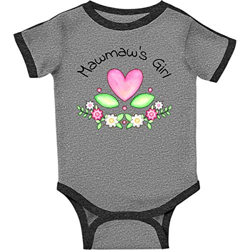 inktastic Mawmaws Girl- Heart Infant Creeper 6 Months Ringer Heather and Smoke