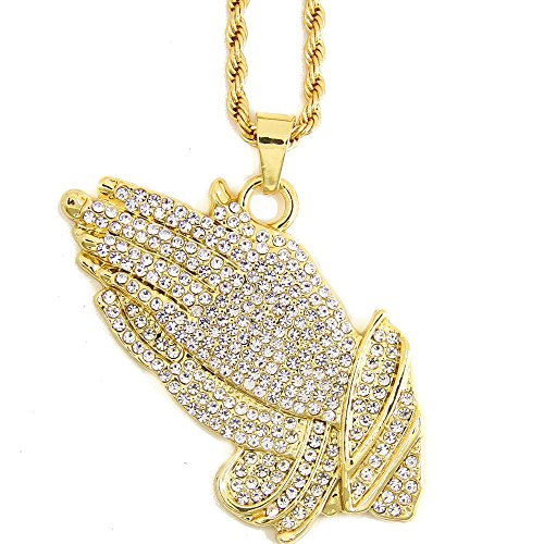 JoJo & Lin 18k Real Gold Plated Prayer Hands Pendant Necklace with Free Rope Chain 23
