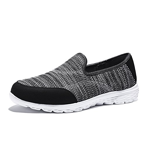 安全キリンクローン(5.5 UK, Grey) - HQUEC Womens Lightweight Mesh Trainers Slip On Gym Sports Walking Running Shoes