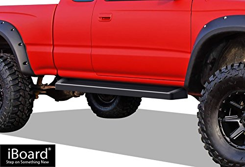APS iBoard (Black Powder Coated Running Board Style) Running Boards | Nerf Bars | Side Steps | Step Rails for 1995-2004 Toyota Tacoma Extended/Xtra Cab Pickup 2-Door