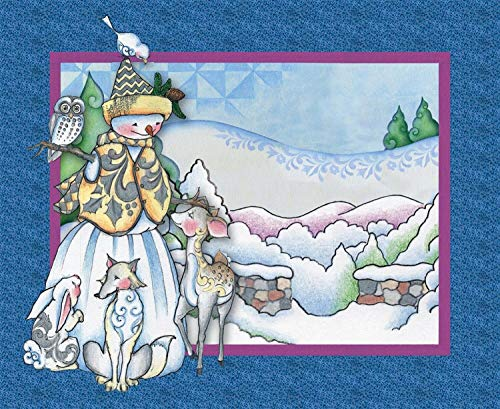 """Jim Shore Woodland Snowman Panel 100% Cotton 44"""" Fabric for sale  Delivered anywhere in USA"""