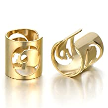 2pcs Mens Womens Gold Color Steel Ear Cuff with Skull Ear Clip Non-Piercing Clip On Earrings