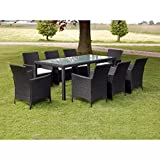 Festnight 9 Piece Outdoor Patio Dining Set Poly Rattan Glass Top Dining Table and 8 Chairs with Cushions Sectional Conversation Set Backyard Garden Furniture Space Saving