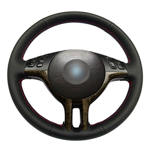MEWANT Customized Black Genuine Leather Car Steering Wheel Wrap for BMW E39 E46 325i E53 X5