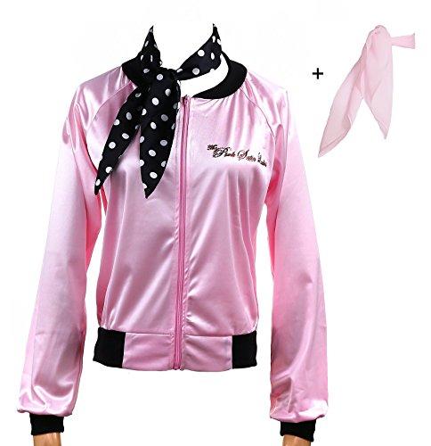 Yan Zhong 1950s Rhinestone Pink Satin Ladies Jacket with Neck Scarf Women Danny Halloween Costume Fancy Dress -