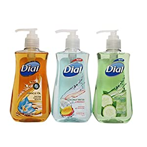 Moisturizing Dial Hand Soap 7.5 oz Bundle Cucumber And Mint, Marula Oil and Coconut Water Mango ( 3 Bottle)
