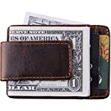 credit card holder with clip - Mens Money Clip Magnetic Thin Front Pocket Wallet RFID Genuine Leather Slim Minimalist Wallet Credit Card Holder for Men Women Brown(Coffee)