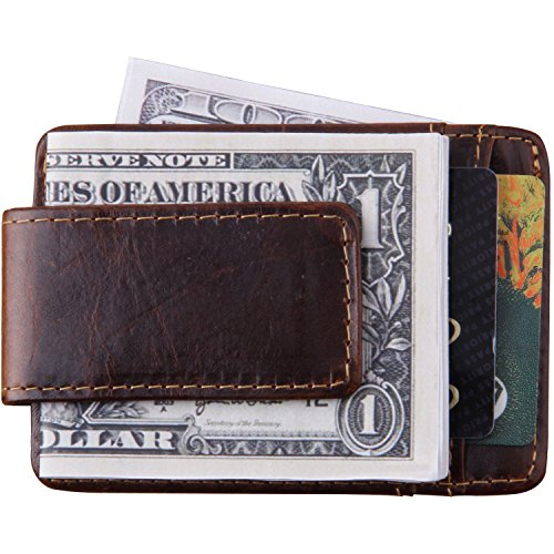 Money Bill Clip Wallet (Mens Money Clip Magnetic Thin Front Pocket Wallet RFID Genuine Leather Slim Minimalist Wallet Credit Card Holder for Men Women Brown(Coffee))