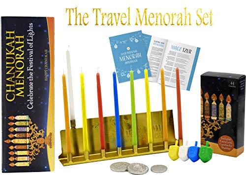 Travel Menorah Set - Lowest Priced Hanukkah Menorah - Includes Menorah, 44 Candles, 4 Dreidels, Chocolate -