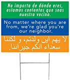 10-Pack of We're Glad You're Our Neighbor Yard Sign (2-sided with H-stakes) USA Union Made!
