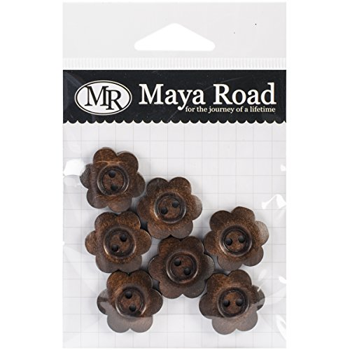 (Maya Road Stained Flower Buttons Wooden Shapes , 7 Pieces Per Pack)