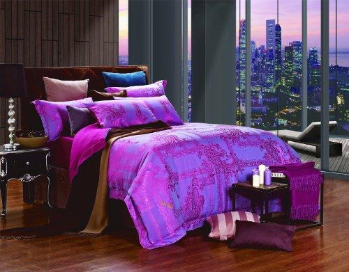 Dolce Mela DM471Q Jacquard Damask Luxury Bedding Duvet Covet Set, Queen