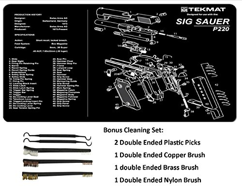 TekMat 11-Inch X 17-Inch Handgun Cleaning Mat with SIG P220 Imprint Bonus 5 oc Gun Cleaning Brush & Pick Set by EDOG