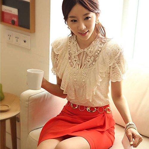 Sansoisan Fashion Elegant Shirt Women White Ruffle and Beading Short Sleeve Lace Blouses Office Tops