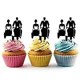 TA0219 Sidecar Wedding Couple Silhouette Party Wedding Birthday Acrylic Cupcake Toppers Decor 10 pcs