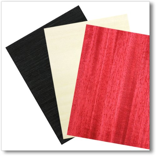 Black Veneer, White Veneer and Red Veneer Combo Pack, 2 sheets ea, 8'x9' 8x9 The Bowl Kit Company