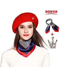 f66f5a9c6fc Wool Beret Hat Solid Color French Artist Beret Skily Scarf Brooch