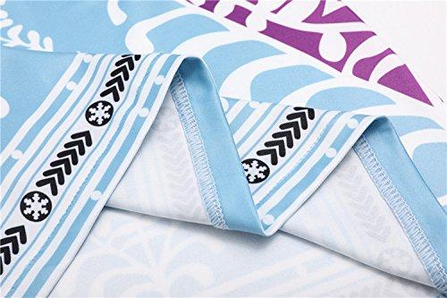 Imprim avec Bleu Blouse 3 Fashion Kilt Tunique Jeune Casual Fashion Tops T Long Manches Rond Bouton Clair Col Chemisiers Simple 4 Shirt Hauts Femme xHwqPBBY