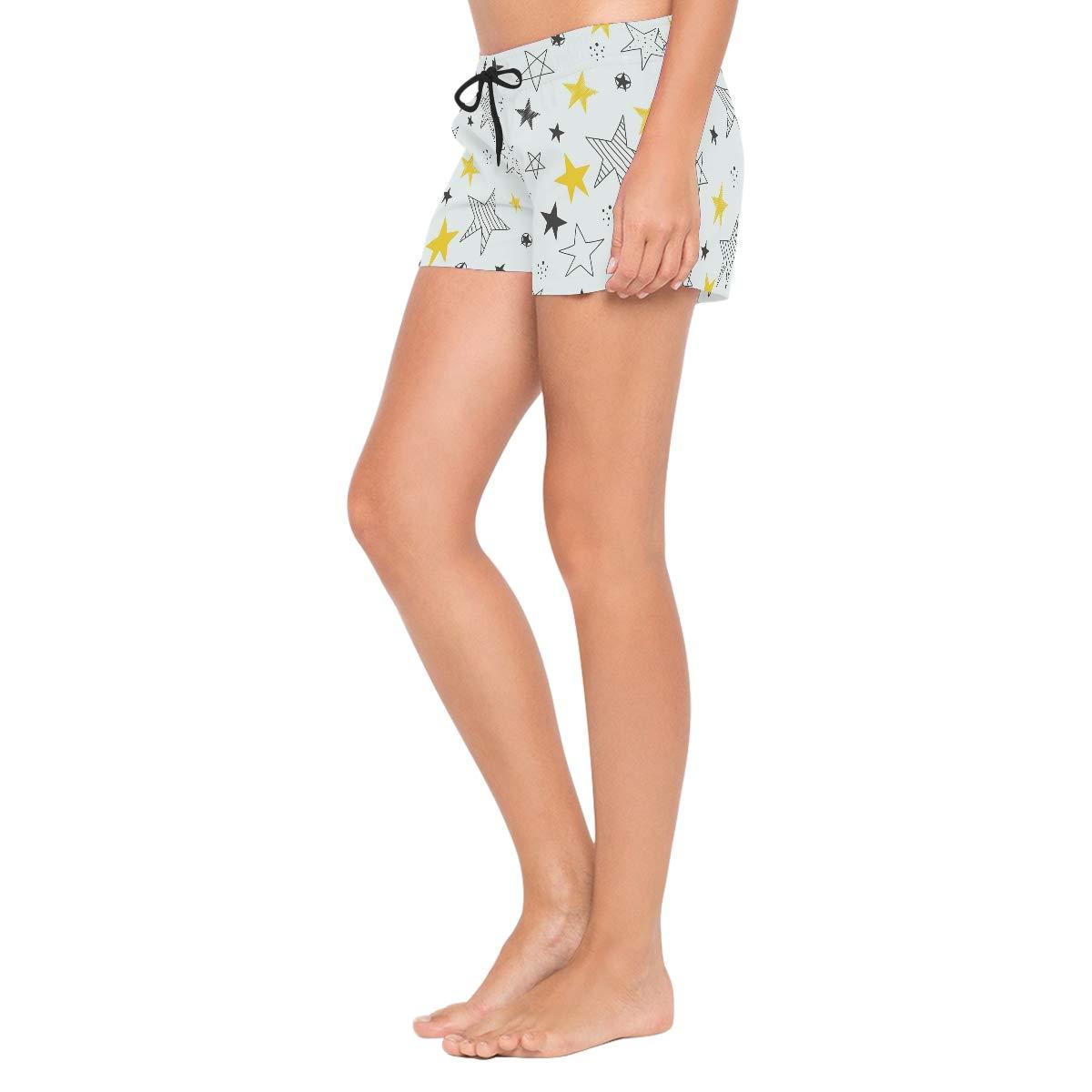 Women Swim Trunks Hand Drawn Stars Pattern Yellow Black Beach Board Shorts