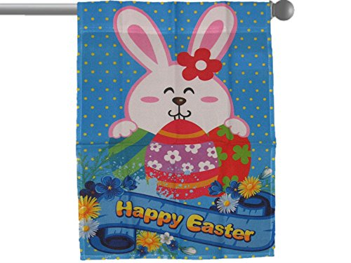 ALBATROS Happy Easter Eggs Bunny Rabbit Garden Banner Flag 28 in x 40 in Sleeved Poly for Home and Parades, Official Party, All Weather Indoors Outdoors
