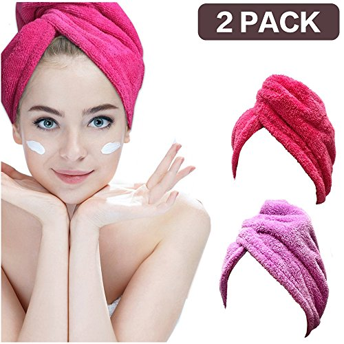 2 Pack Hair Towel Wrap Turban Microfiber Drying Bath Shower Head Towel with Buttons,Gift Box Package, Quick Magic Dryer, Dry Hair Hat, Wrapped Bath Cap
