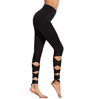 4ab15abc4d520 Women Yoga Pants Tie String-End Capris Fitness Workout Cropped Leggings  Sports Gym Lounge Athletic Tights: Amazon.co.uk: Clothing