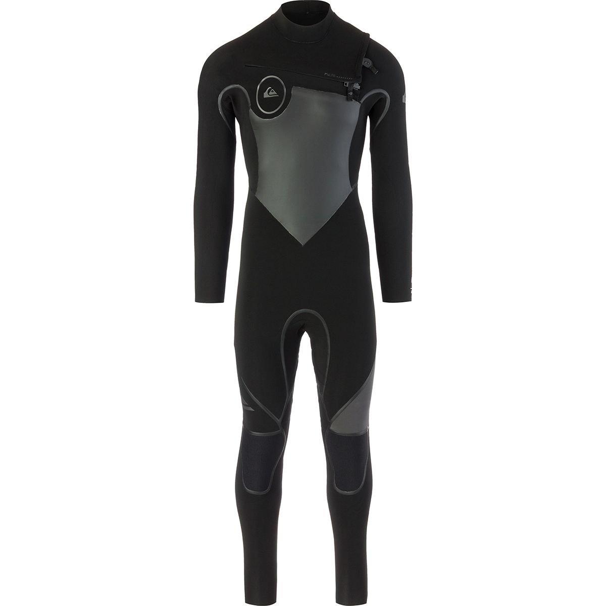 Quiksilverメンズ4 / 3 mm Syncro Plus Chest Zip – Full Wetsuit Chest Zipウェットスーツ B071YB7SQB Black/ Black/ Jet Black Large Large|Black/ Black/ Jet Black