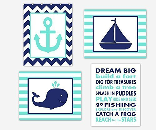 Child Wall Art Sailboat (Nautical Boy Nursery Wall Art Navy Blue Aqua Whale Anchor Boat Sailboat Dream Big Quote Toddler Bedroom Chevron Baby Nursery Decor SET OF 4 UNFRAMED PRINTS)