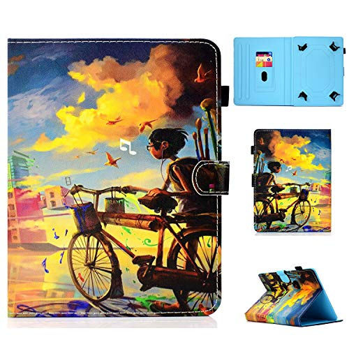 Universal Case for 6.5-7.5 inch Tablet, Cookk PU Leather Wallet Cover Case with Card Slots Kickstand Case for Fire 7, Galaxy Tab E 7.0 Inch, T230, T280, Bicycle Boy