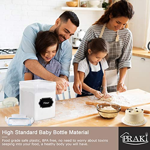 Airtight Food Storage Containers with Lids, PRAKI 4PCS Leak-Proof Plastic Kitchen & Pantry Organization Containers Set for Cereal, Flour and Baking Supplies - 20 Labels & 1 Marker (5.2L, Blue)