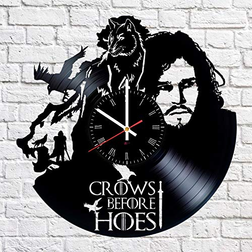 Jon Snow Hero Handmade Vinyl Record Wall Clock - Get unique living room wall decor - Gift ideas for friends, boys, girls - Epic Drama Unique Modern Art ()