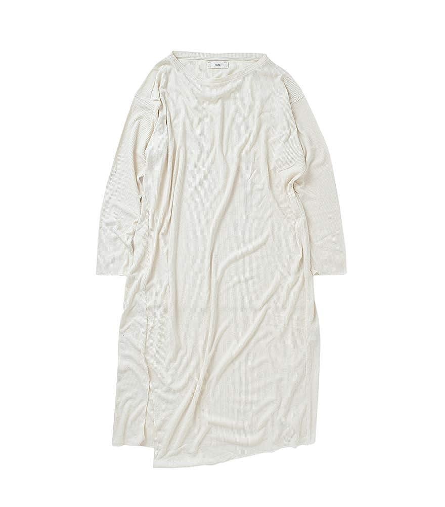 (アンフィル)unfil ローシルクリベッドジャージーロングスリーブTシャツドレス onsp-uw130 B07PXNQ2GB ナチュラル(col.03) 1