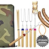 Wup Extendable Rotating Marshmallow Roasting SticksSmores Sticks for Fire PitCampfire Roasting Sticks 30 inch