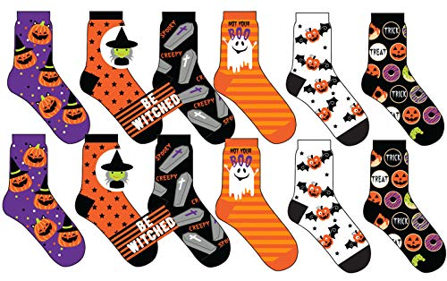 Halloween Socks, 5 Different Designs, Halloween Gift, Women Teen Size.12 Pair, -