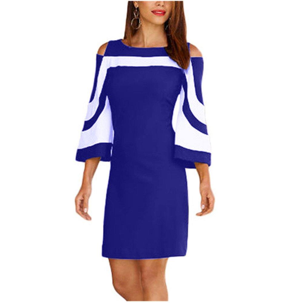 Lrud Women Ladies Chic Black White Colorblock Travel Dress Cold Shoulder Bell Sleeve Elegant Above Knee Mini Sweater Dress Blue L